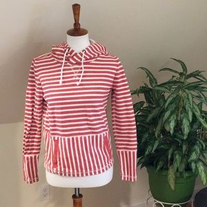 Red and white striped J Crew hoodie